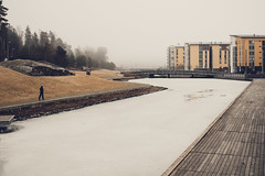 Frozen Canal [Explore # 344] (Bunaro) Tags: frozen canal fog winter spring ice aurinkolahti vuosaari finland suomi helsinki melancholic atmosphere mystic landscape cityscape canon m3