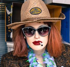 Got a Light? (Jane Olsen ( Chardonnay)) Tags: mannequin corona ogden thriftstore hat cigarette jacket