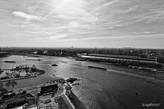 Amsterdam. (alamsterdam) Tags: amsterdam centralstation city ij water ferries monochrome ships sunlight