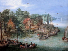 IMG_4001O Jan Brueghel I (dit de Velours). 1568-1625. Anvers. Paysage fluvial. River landscape with moorings. 1603. Turin. Sabauda. (jean louis mazieres) Tags: peintres peintures painting musée museum museo italie turin torino sabauda janbruegheltheelder
