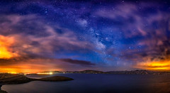 Dreamscape Panorama (stuanderson7) Tags: landscape nature water mountains outdoor lake clouds dam morning vibrant panorama stars countryside sky california reservoir hills sonya6000 samyang12mmf2 lightpollution longexposure milkyway