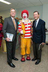 Charles Hoopingarner, advisory council chair, Ronald McDonald and Jack Johnson at the five year celebration of the Ronald McDonald Care Mobile™ (UTHealth) Tags: ronald mcdonald care mobile uthealth school dentistry houston texas children health dental