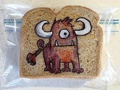 4-legged creature (D Laferriere) Tags: monster creature laferriere attleboro dad drawing horns sandwich bag art sharpie lastyear rodeo