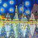 naive painting of tel aviv city ציור נאיבי של העיר תל אביב בלילה קו רקיע ליל כוכבים  starry night painting