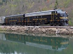 Covered Wagon Reflection (jterry618) Tags: diesel westvirginia co ci cheatriver shaversfork westernmaryland fp7 gp9 diesellocomotive funit cheatbridge westvirginiacentral