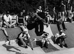 Paine's Park Opening Day 11 (phillytrax) Tags: city urban blackandwhite bw usa philadelphia monochrome america jump unitedstates skateboarding pennsylvania crowd skaters ollie pa skatepark skateboard philly grayscale fairmountpark cityofbrotherlylove schuylkillbanks painespark