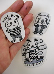 free hugs sticker (Pippypippy) Tags: streetart moleskine animal animals pencil ink painting stars artwork sticker stickerart drawing stripes free sketchbook hugs draw gouache animalart pencildrawing stickersart