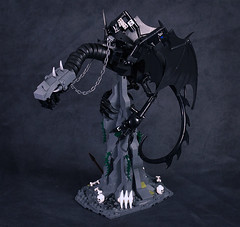 Nazgul on Fell Beast - wings fold (captainsmog) Tags: statue skeleton chains wings dragon lego peak lotr lordoftherings vignette claws nazgul sauron witchking ringwraith moc ucs fellbeast cuusoo