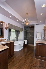 whole bathroom (SimoneFeldmanDesigns,LLC.) Tags: lighting wood glass stone tile bathroom shower doors floor mosaic vanity mirrors tub granite cabinets hardwood soaking