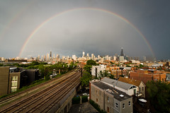 Double Rainbow over Chicago Skyline - June 17th, 2013 (cshimala) Tags: sky chicago weather skyline rainbow aroundtown doublerainbow mothernature chicagoskyline chicagoist
