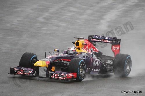 Sebastian Vettel in Free Practice 1 for the 2013 British Grand Prix