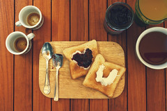 Breakfast in Love (Ai in Technicolor) Tags: wood morning summer 3 love coffee breakfast estate toast twin spoon fantasy fantasia tavolo amore due caffe soulmate legno colazione succo mattina loveisintheair animagemella