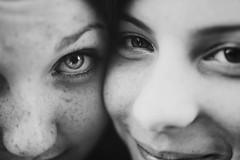 Close Friends. (Viedelamort) Tags: girls friends portrait white black monochrome canon happy intense eyes friendship faces smiles t3i 600d