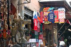 Maroc and Becks (Patrick Costello) Tags: market morocco beckham marrakech souk marrakesh footballshirts