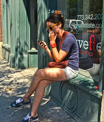 Safe Texting (tacosnachosburritos) Tags: park street city summer people urban woman chicago man hot sexy guy girl beautiful lady race photography thestreets windy chick neighborhood human wicker
