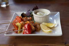 Salmon Skewers (parrotstix) Tags: nyc food lunch 50mm soho salmon skewers onieals canont4i