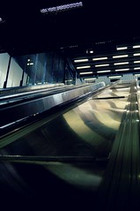 Escalator (Felicia Brenning) Tags: city light colors subway movement escalator