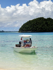 blue beach water island boat paradise turquoise pacificocean tropical palau rockislands