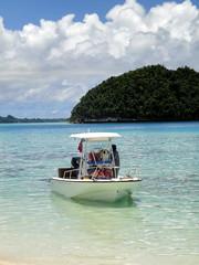 blue beach water island boat paradise turquoise pacificocean tropical palau rockislands