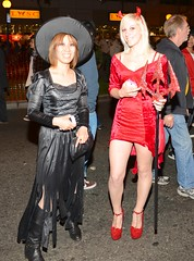 Devil and Witch,  Halloween, West Hollywood, 2013 (bloodyeyeballs) Tags: california carnival costumes halloween losangeles october witch flash parade flashphotography carnivale devil westhollywood weho santamonicaboulevard halloweencarnival 2013 nikon287028 nikond800e