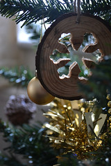 Wooden Snowflake Decoration (mandyfloss) Tags: snowflake christmas wood xmas decoration ornaments tinsel