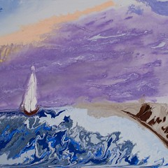 Sailing into a purple sunrise - Abstract Poured Painting (nashkevin12) Tags: abstractseascape abstractbutterflies abstractpouredpainting abstractpouredpaintings