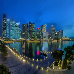Curves In The City (Mabmy) Tags: city blue sunset skyline night canon star evening singapore cityscape curves wide sigma cbd 12mm scape ultrawide hdr 1224 mbs bayfront sigma1224 1dx canon1dx