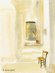 Interior Art Watercolor - The little chair (Sonia Aguiar (Mallorca)) Tags: art work watercolor painting interiors handmade interior watercolour acuarela mallorca soniaaguiar nopencil orignialartwork