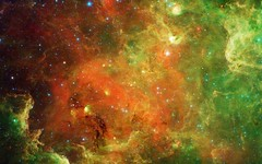 Orange-Green-Galaxy-Stars (GurshobitBrar) Tags: blue red galaxy planets newworlds