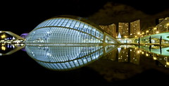 Gala dress (Nespyxel) Tags: light valencia architecture night reflections spain nightshot panoramic calatrava valenza riflessi gala nocturne architettura spagna ciudaddelasartesylasciencias geometrie geometries simmetrie symmetries nespyxel stefanoscarselli blinkagain tufototureto