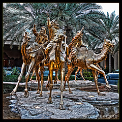 Three Kings of Orient (Billy-Fish) Tags: colour statue bronze square one three dubai gulf desert uae middleeast emirates camel kings only orient camels hdr billyfish