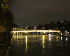 Seine at night, high water (Monceau) Tags: paris seine night reflections highwater 113picturesin2013 53longexposure
