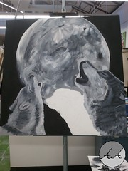 Wolves (aralger08) Tags: moon art painting wolf acrylic glow grayscale process wolves howl