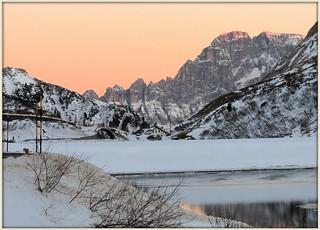 Italy - Dolomiti - Fedaia Lake in a winter dusk