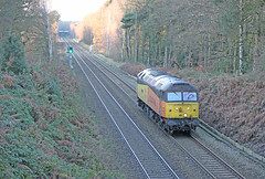"47727 ""Rebecca"" trundles through Sutton Park (Andrew Edkins) Tags: winter diesel rebecca suttoncoldfield january spoon brush duff suttonpark 2014 class47 lightengine 47727 colasrail 0z47"