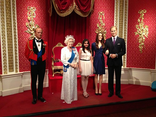 Royals figures (Prince Philip, Queen Elizabeth II, Duchess Catherine Middleton and Prince William) at Madame Tussauds London