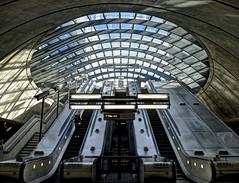Canary Wharf Station (MarkLG1973) Tags: uk london reflections underground lumix tube bluesky fav20 canarywharf hdr fav10 photomatixpro gx7 vision:text=0607 vision:sky=0564 vision:outdoor=0698