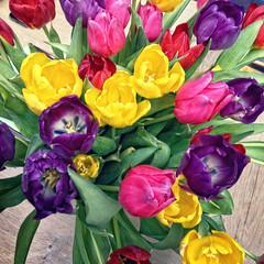 Dutch tulips (VillaRhapsody) Tags: flowers colors colorful colours tulips vase bouquet