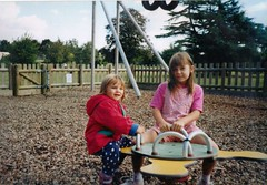 Daisy and Abigail  at  Hardwick Heath Bury St Edmunds c1999 (Bury Gardener) Tags: family friends children relatives oldies
