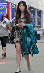 Leopard dress (3) (Steven pan 8) Tags: girls sexy girl beautiful beauty asian pretty legs skirt sultry oriental pantyhose chinesegirl asianbeauty
