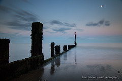 Shanklin Sunset (andythekeys) Tags: longexposure sunset moon beach isleofwight groyne shanklin