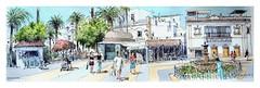 Ayamonte - Andalucia - España (guymoll) Tags: ayamonte andalousie andalucia espagne spain españa place fontaine moleskine carnet aquarelle watercolour watercolor