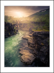 Absiko Canyon (andreassofus) Tags: abisko abiskonationalpark kiruna lappland lapland norrbotten canyon abiskocanyon landscape nature grandlandscape sweden light water greenwater clearwater outdoor hike hiking mountains mountainscape trees rocks stream travel travelphotography canon mood