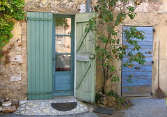Greens and blues:  Fox-Amphoux, Var, Provence (Hunky Punk) Tags: dwwg door shutters glass blue green foxamphoux var provence village france