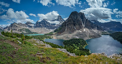 Views from the Nublet (L to R - Naiset Point, Terrapin Mountain, Mount Magog, Mount Assiniboine, Wedgewood Peak, Magog Lake, Sunburst Lake and Cerulean Lake) (www.clineriverphotography.com) Tags: landscape aspect water panorama canada 2015 lake britishcolumbia location mountain ceruleanlake magoglake mountassiniboine mountassiniboineprovincialpark mountmagog naisetpoint sunburstlake terrapinmountain wedgewoodpeak