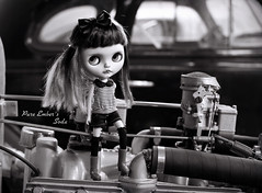 Just one (pure_embers) Tags: pure laura embers blythe doll dolls custom photography uk england girl pureembers tiina soda emberssoda lip ring piercing portrait leather jacket rock chick photographs classic monochrome bw car