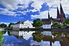 Uppsala, en Suède (Voyages Lambert) Tags: uppsala facade spire history journey blue famousplace architecture outdoors sweden scandinavia europe reflection river university 2015 oldhistory may historicalcity
