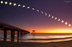 Secuencia de Eclipse parcial de sol visto desde El Puerto Caleta La Misión de Rio Grande. (Marcelo Las Heras) Tags: eclipse solar sol amanecer sun sunrise sunset sea mar costa playa beach wideangle wide panoramica cielos patagonia tierradelfuego riogrande muelle puerto