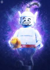 Genie (jezbags) Tags: lego legos aladdin genie toys toy macro macrophotography macrodreams macrolego minifigure minifigures canon60d canon 60d 100mm closeup upclose magic wishes blue purple smile disney