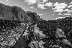 Seaweed and Sky (John fae Fife) Tags: fujifilmx noiretblanc landscape seashore cliffs stonehaven bw nb rocks rockpools seaweed monochrome blackandwhite shore scotland xt1